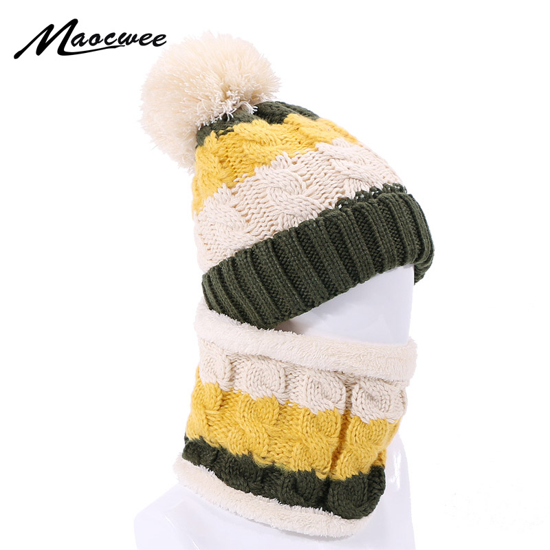 Knitted Warm Skullies Beanies Hat Ring Scarf Winter Thick Hats With Lining For Men Women Outdoor Solid Windproof Beanie Hat Cap