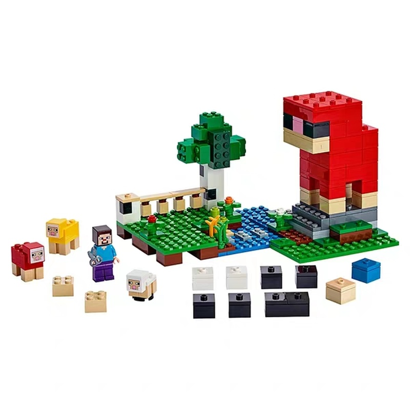 2019 My World Assembled Bricks The Wool Farm Compatible Legoing Minecing 21153 Building Blocks Toys for Children Christmas Gift