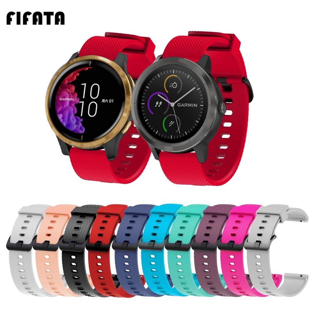 FIFATA 20MM Quick Release Silicone Watch Strap For Garmin Venu/Vivoactive 3 HR Smart Watch Wristband For Huami Amazfit Bip/GTS