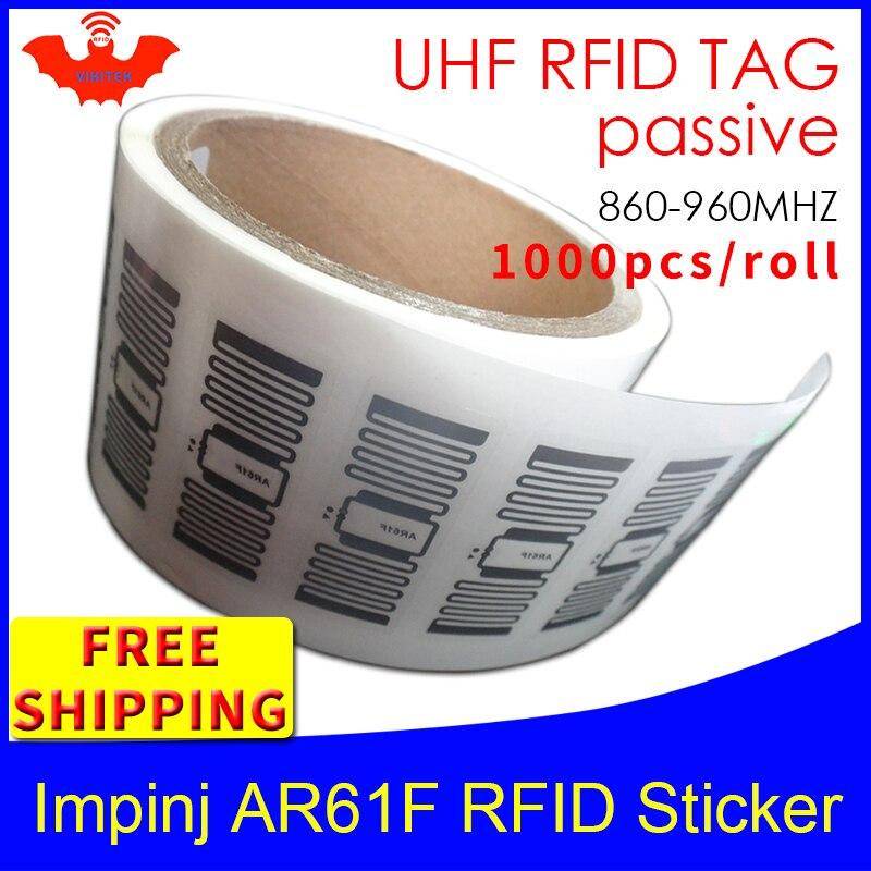 UHF RFID Tag Sticker Impinj MonzaR6 AR61F EPC6C Wet Inlay 915mhz868m860-960MHZ 1000pcs Free Shipping Adhesive Passive RFID Label