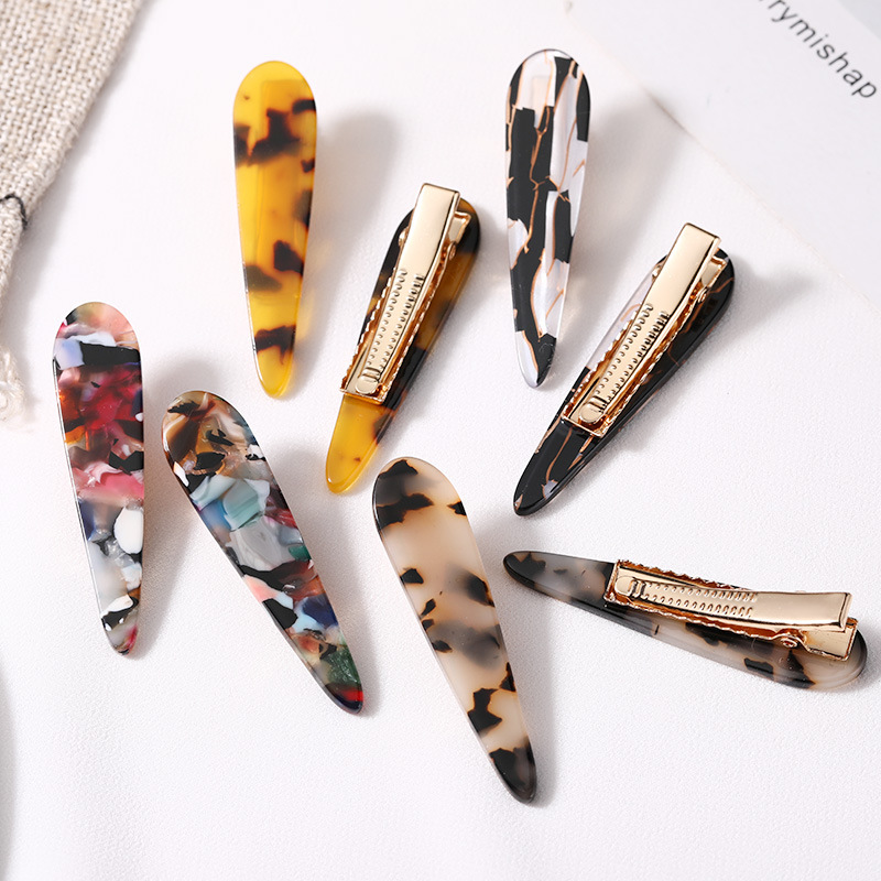 2PCS/Set New Women Elegant Leopard Print Acetate Geometric Hair Clip Hairpin Barrette Headwear Fashion Hair Accessories