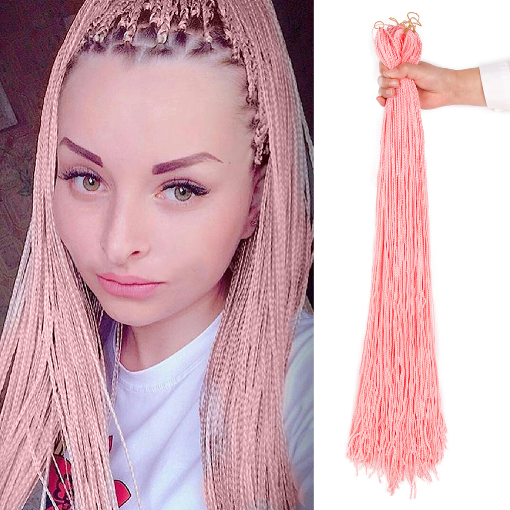 MODERN QUEEN 28'' Braiding Hair Long Colorful Synthetic Zizi Box Braids 10Colors Available Fiber Crochet Hair Extension 50 Grams