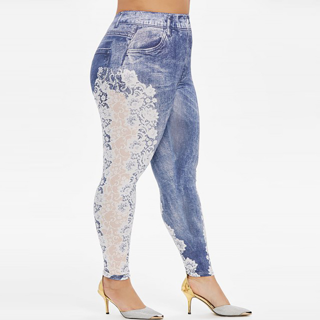H814c353b553d4657988d4ffef1207bebr Jaycosin New Fashion Ladies Casual Lmitation Cowboy Pocket Jeans Elastic Stretch Thin Female Soft Loose Leggings Pants 10#4
