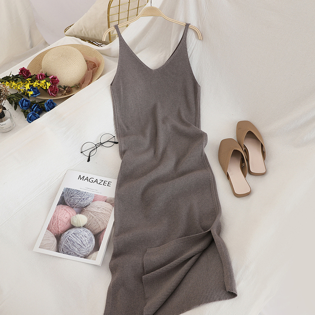 V Neck Solid Knitted Dress 6