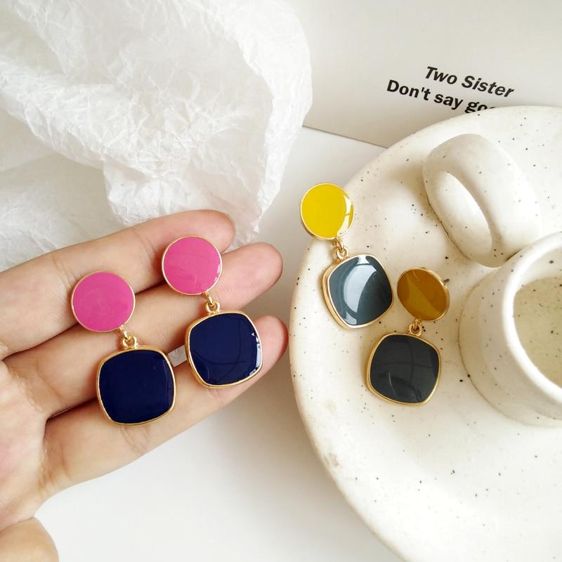 Fashion Metal Circular Square Stud Earrings Female Retro Contracted Geometric Earrings Classic Beautiful Earrings For Women
