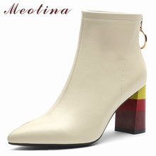 Meotina Winter Ankle Boots Women Natural Genuine Leather Block High Heel Short Zip Super Shoes Lady 34-42