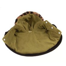 Dark Green Coat for Dog with Hooded Fleece Lining and Sleeves Closure Hooks Wild