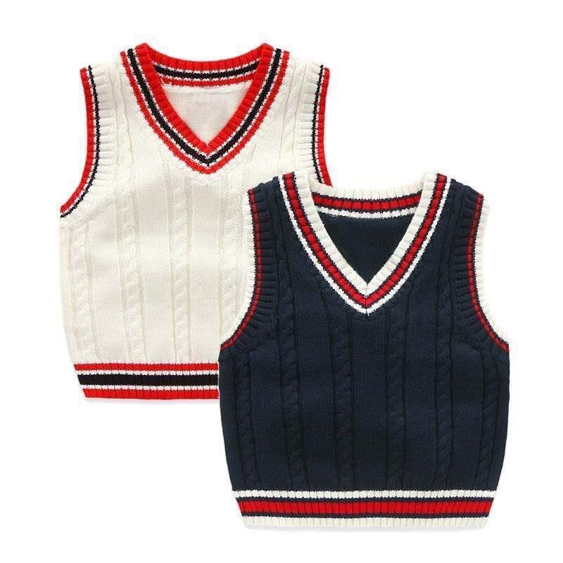 Autumn And Winter School Uniform Vest Boy Knitted Sweater Boy Sweater Autumn Children's Sleeveless Vest 2