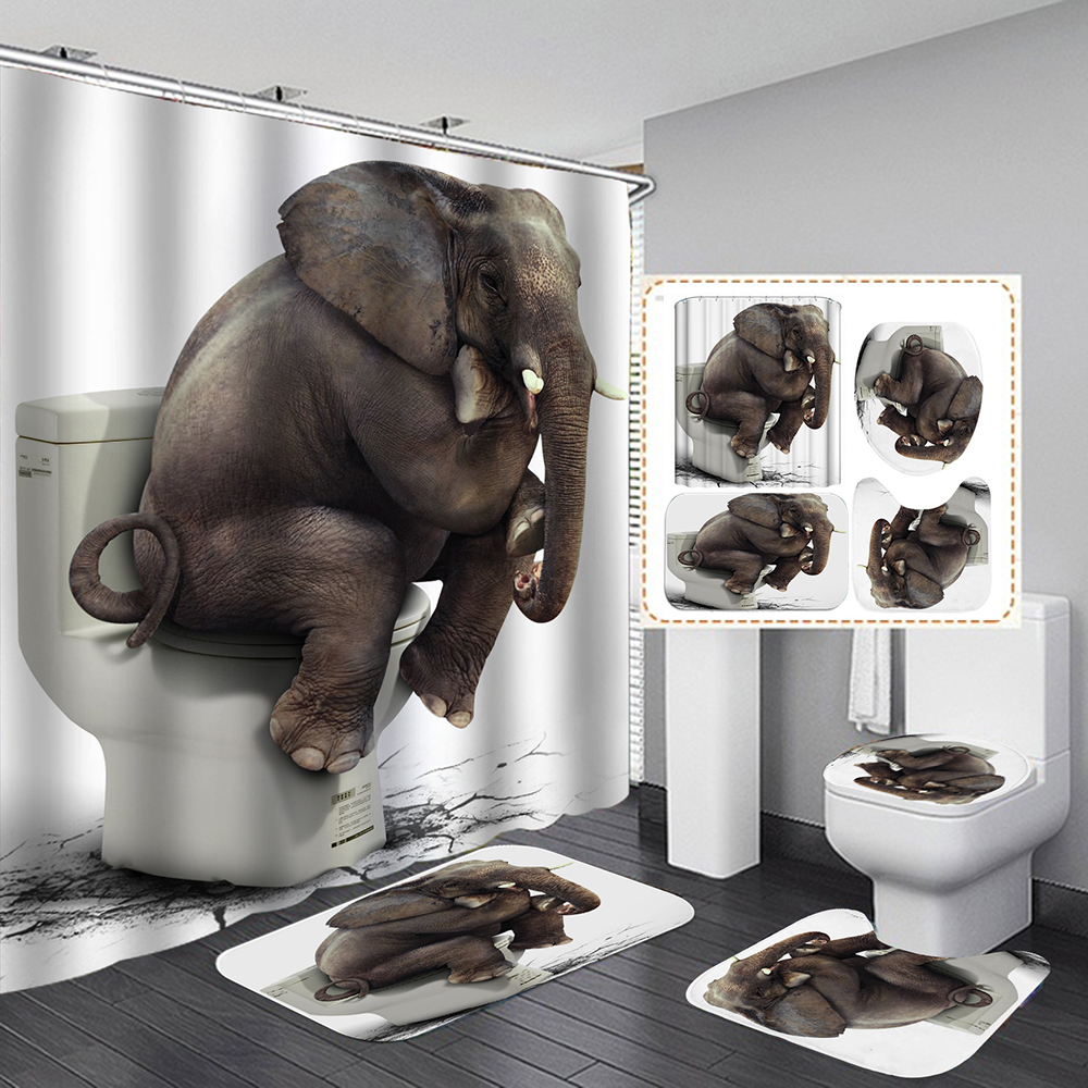 Funny Elephant Waterproof Shower Curtain 4 Piece Bathroom Set Carpet Cover Toilet Cover Bath Mat Pad For Home Decor, 3 Size