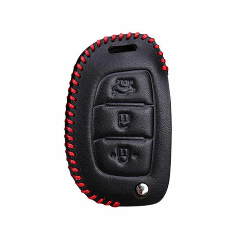 Кожаный чехол для автомобильных ключей, чехол для hyundai Solaris ix25 ix35 ix45 Elantra, Santa Fe HB20 верна Солярис Creta i10 i20 i30 Tucson 2015