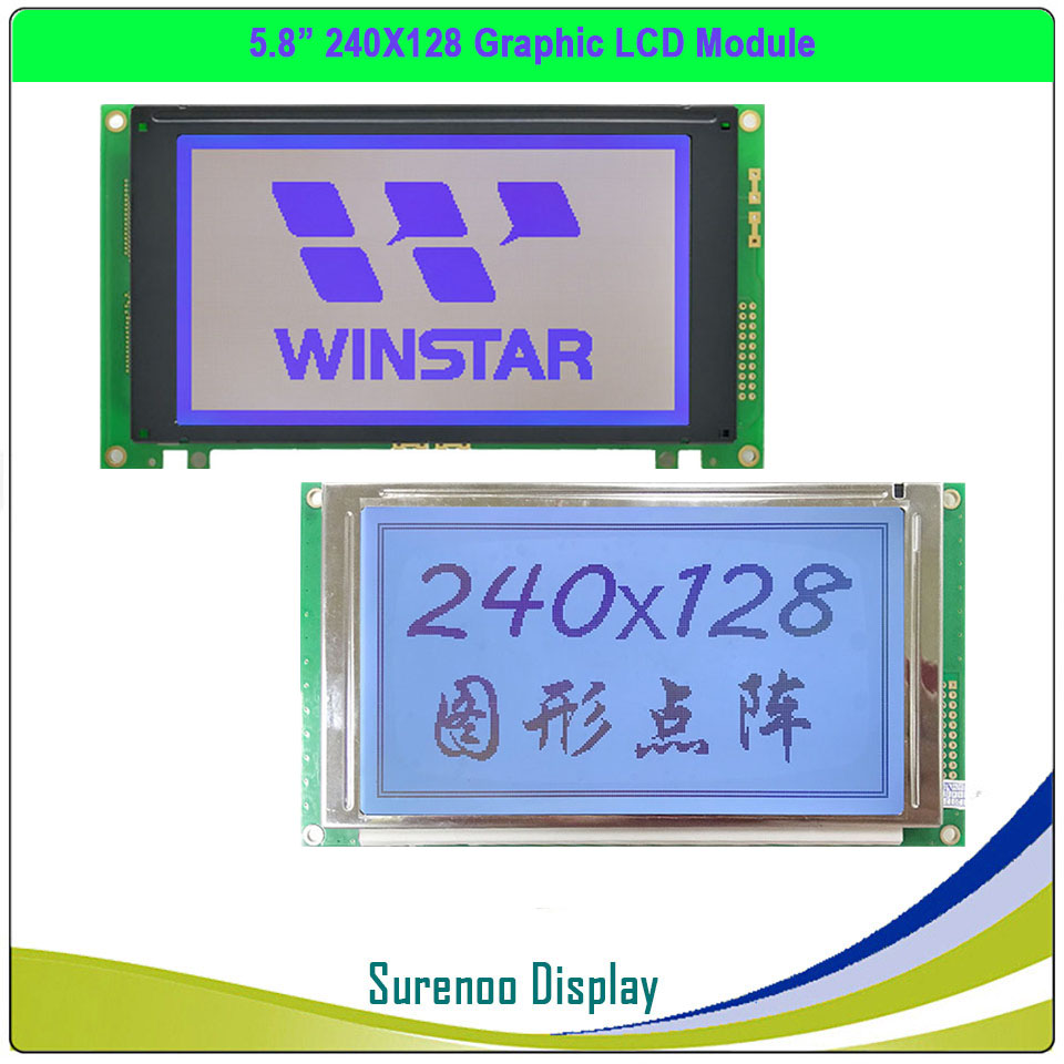 Original / Replacement For WG240128A TLX-1741-C3M NHD-240128WG-ATFH-VZ 240128 240*128 Graphic LCD Module Display Screen Panel