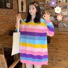 Women's Sweatshirt Harajuku Rainbow Strip Hoodie Patchwork Soft Contrast Color O-neck Winter Autumn Top contrast checked sleeve hoodie sweatshirt