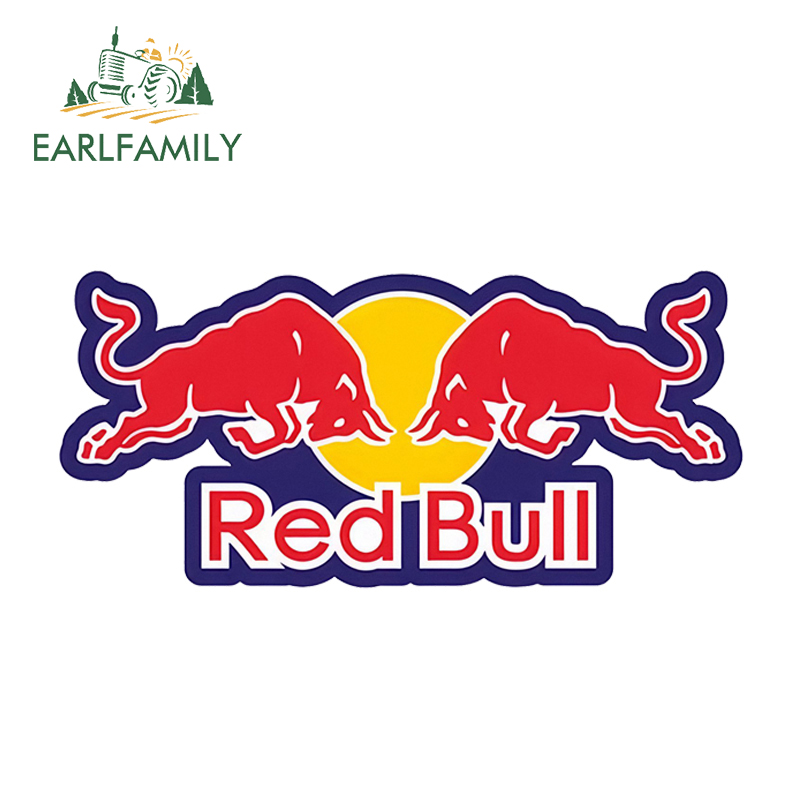 EARLFAMILY 13cm X 6cm For RED Of Bull Graphics Car Stickers And Decals 3D Vinyl Car Warp For Car Body Windshield Bumper