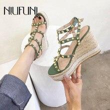 NIUFUNI – sandales à plateforme pour femmes, avec boucle, talons hauts, rivets, chaussures Rome, corde de chanvre tissée, rétro, été, 2020