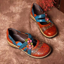 GAOKE Vintage Floral Genuine Leather Splicing Colored Stitching Hook Loop Flat