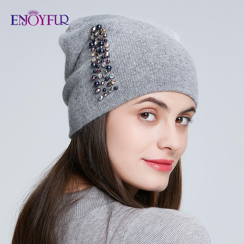 ENJOYFUR winter hats for women knitted wool warm hats lady fashion Rhinestones   beanies   skull cap