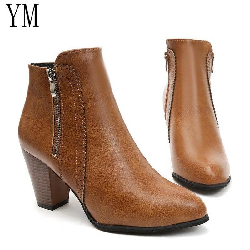 Retour femmes bottines mode bottes en cuir PU talon haut 8cm dames chaussures côté fermeture éclair bottes courtes pour femmes chaussures Drop ship43