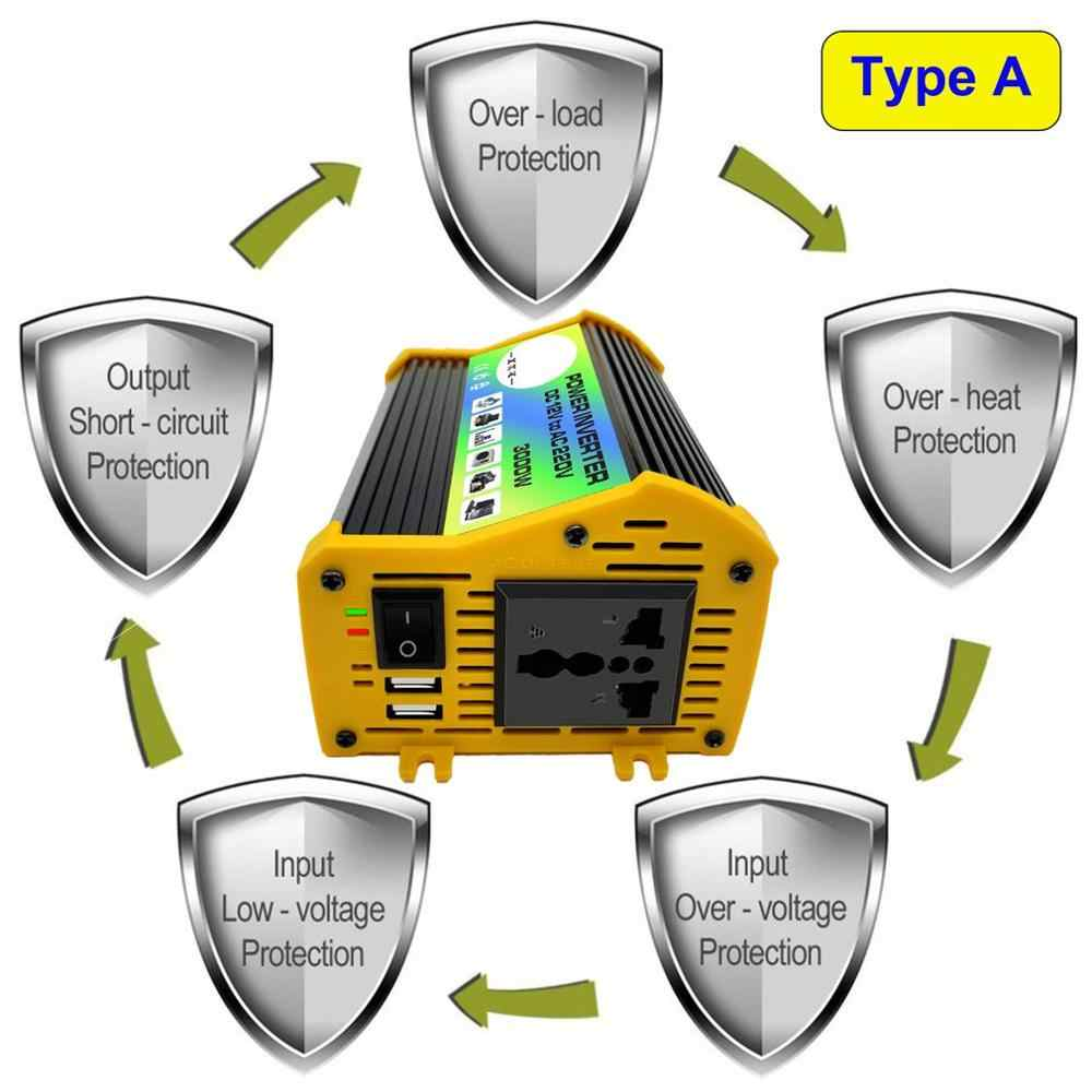 3000W 12V a 220 V/110 V Dual USB Car Power Inverter adaptador, cargador, convertidor transformador de voltaje modificado onda sinusoidal