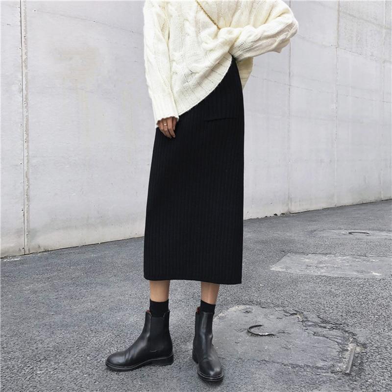 Harajuku Pockets Knitted Skirt Women Kpop Fashion Elastic Midi High Waist Skirts Autumn Winter Cool Streetwear Slim Skirt Black in Skirts from Women 39 s Clothing