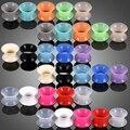 30 шт./лот, силиконовые гибкие тоннели для уха, пробки для пирсинга, разноцветные сережки, расширительный пирсинг, модные украшения 3 мм-16 мм