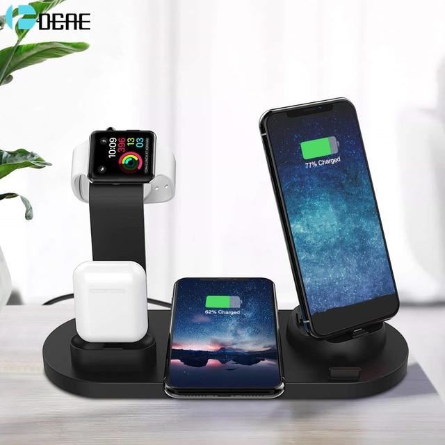 DCAE 4 ב 1 טעינת Dock מחזיק עבור אפל שעון 5 4 3 2 iPhone X XS XR 11 פרו 8 7 Airpods 10W צ י אלחוטי מטען Stand תחנה
