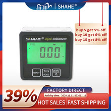 SHAHE Aluminum alloy Digital Protractor Inclinometer Level box Digital Angle Finder Bevel Box with Bottom built in magnet