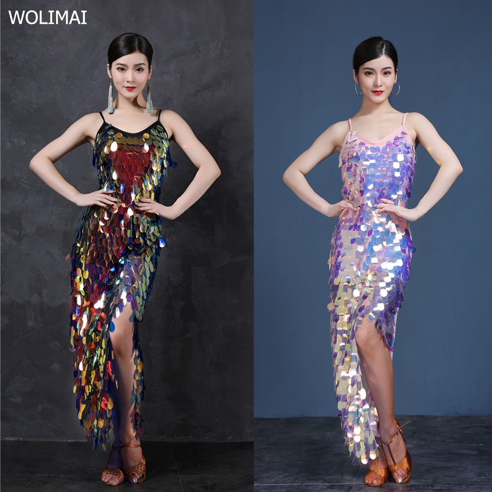 Latin Dance Dress Costumes Latin Dancing Shinning Women Latindance Night Club Set Competition Latino Long Dresses Big Sequins