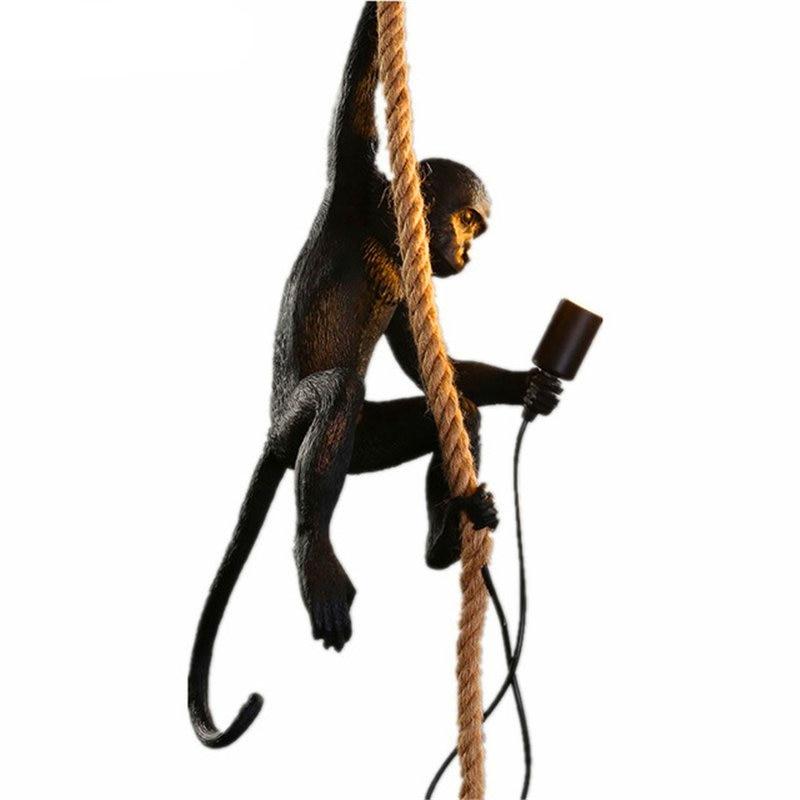 Lampe singe moderne corde pendentif LED lumières éclairage 7 couleurs Art nordique répliques résine Seletti lampe suspendue singe lampe luminaire