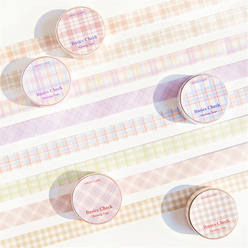 Basic Lattice Color Paper Washi Tape 15mm Plaid Tartan Check Pattern Adhesive Masking Tapes Diary Stickers Decoration Tools F476