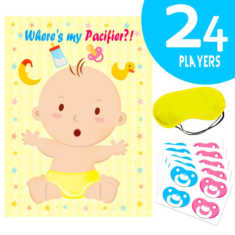 Fun Baby Shower Party Game PIN THE BOTTLE ON THE BABY Fun Blindfold Favor Poster