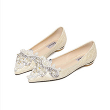 Ladies Europe and the United States new flat shoes with pointed toes beads pearl water drill pointed flat heel women's shoes