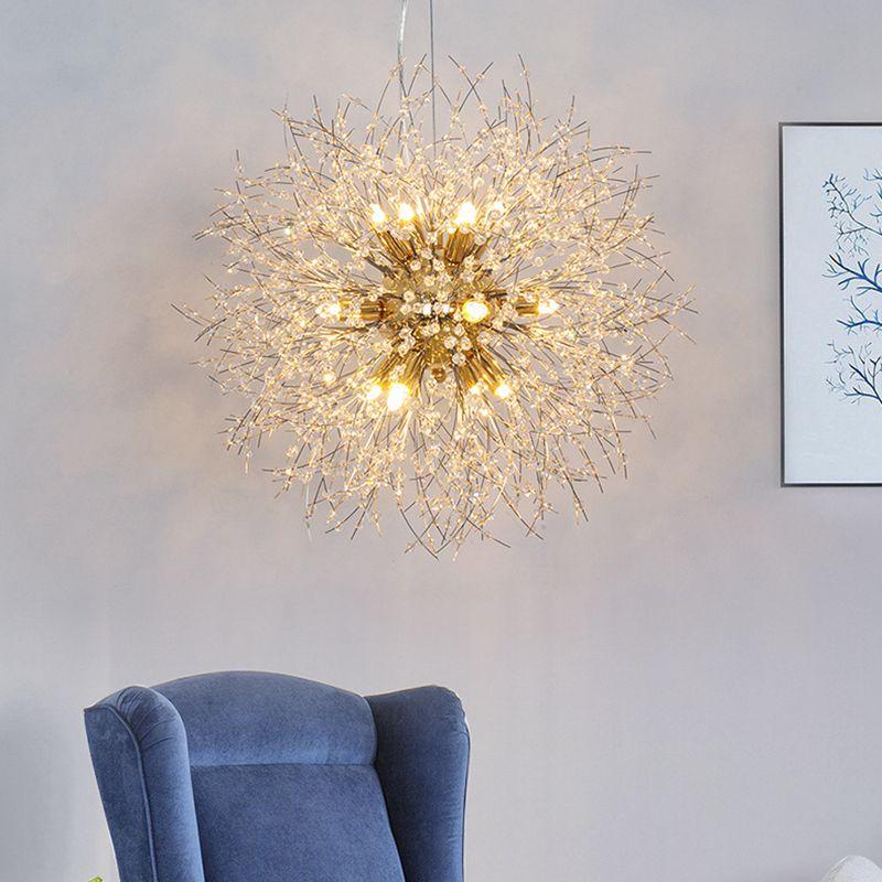 LukLoy nouveau pissenlit lustre perles de cristal lampe pendentif pour Restaurant café décoration G9 lumière LED Source Foyer lustres