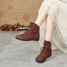 2019 autumn and winter new leather casual wild thick bottom women boots British leather retro beef tendon soft bottom short boot(China)