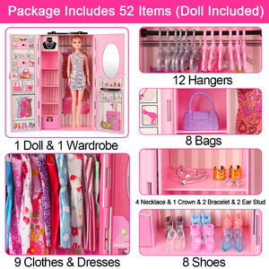 Image 3 - DIY miniature dollhouse doll house doll closet with doll house furniture toys for children Christmas gift