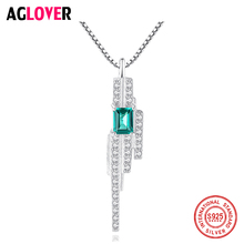 AGLOVER 2019 New 925 Sterling Silver Necklace For Woman Wedding Shiny Cz Zircon Crystal Pendant Necklace Fashion Party Gift