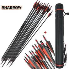 12pcs 30inch Spine 400 Shooting Arrows Carbon Fiber Iron Bolts Suitable For Composite Bow Long Hunting Accessories