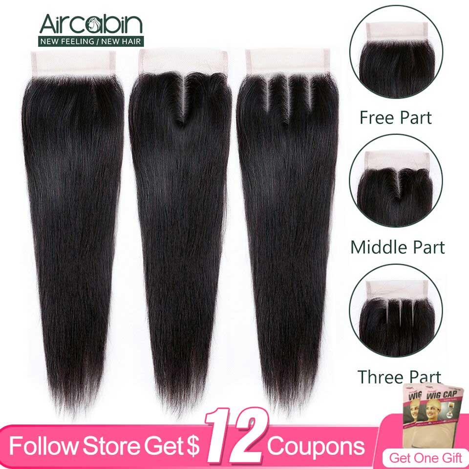 Прямые бразильские волосы Aircabin 4x4, закрытые волосы Remy, свободные/Средние/три части, человеческие волосы, закрытие шнурка 8-20 дюймов, натураль...