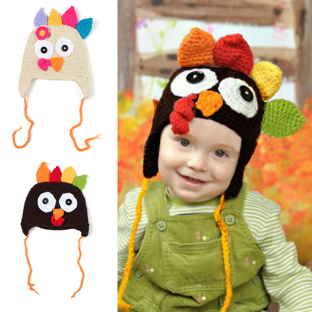 Handmade Crochet Turkey Hat Thanksgiving Beanie Outfit Clothes Child Gift Unisex