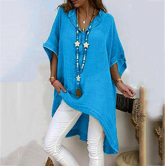 Plus Size Shirts Women Summer Loose Half Sleeve Solid Women's Tunic Plain Long Beach Blouse Casual Large Size Elegant Vrouw 1