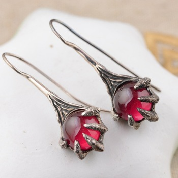S925 silver inlaid Antique Style Earrings
