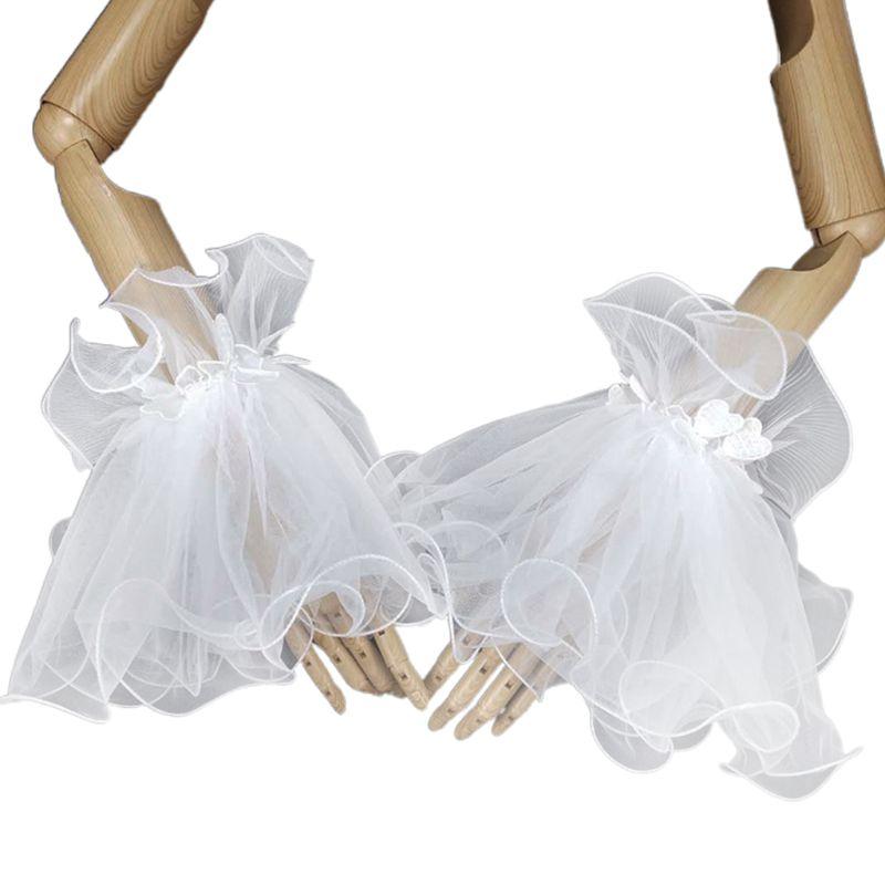 Women Bride Pleated Ruffles Horn Cuff Heart Lace Decor Wedding Party Fake Sleeve LX9E