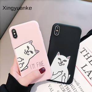 Funny Cartoon Phone Case For Huawei Honor 10 9 8 Lite 5C 6A 6X 7A 7X 8C 8X 8A 8S 9X Play 9A 20 Pro 20S Candy Color Cat Cover(China)