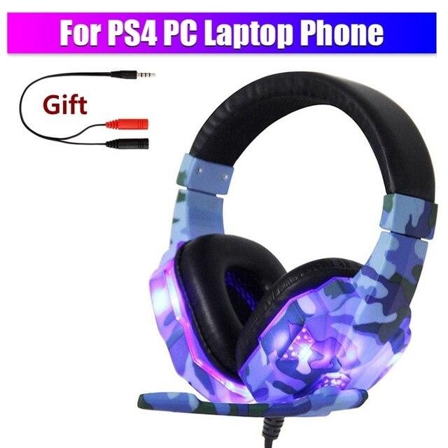 Computador pc gamer fone de ouvido com microfone led luz ruído cancelar alto-som fone de ouvido para ps4 fone de ouvido música estéreo capacete 1