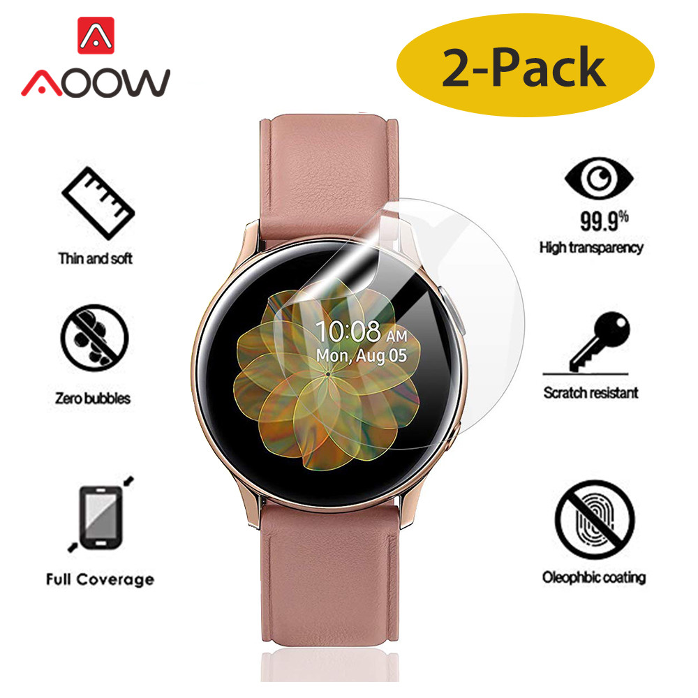 2pcs Soft PET Screen Protective Film For Samsung Galaxy Watch Active 1 2 40mm 44mm Ultra-thin Full Cover Hydrogel Film R830 R820