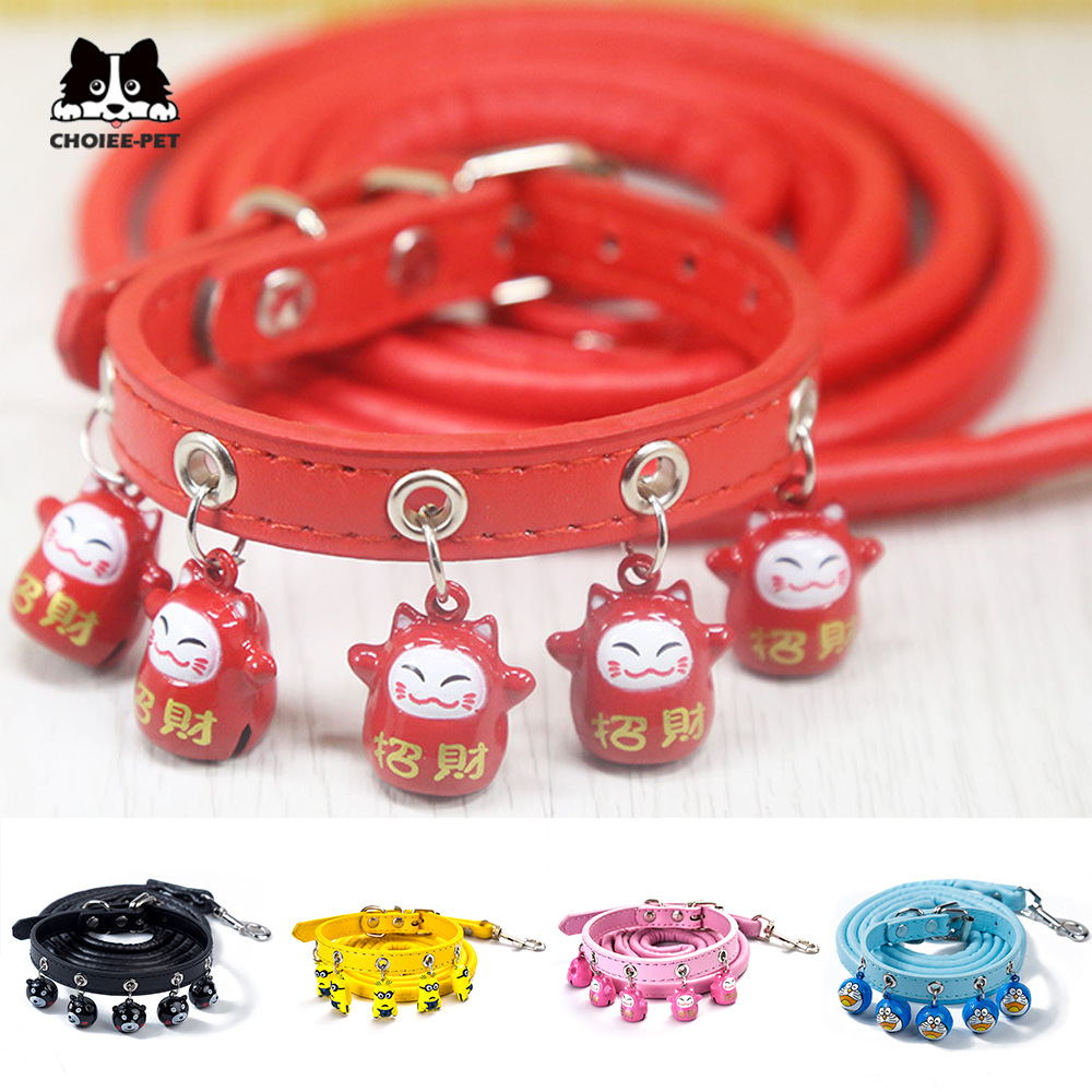 Cute Cartoon Bell Dog Neck Ring Cat Neck Ring Teddy Small Dogs Collar Hand Holding Rope Pet Supplies