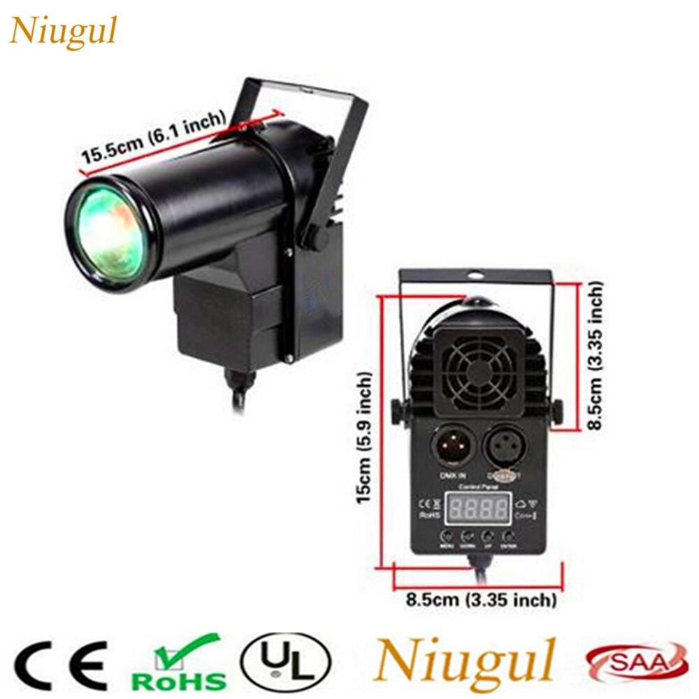 2pcs 10W Mini DMX512 Stage Light /RGBW 4in1 Disco Beam LED Pinspot Light For DJ Party KTV Mirror Ball Pin Spot Lights Spotlights