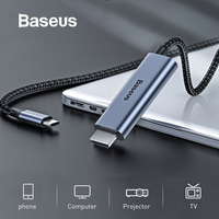 Baseus Type c to HDMI Cable 4K 60Hz FHD HDMI Cable With 60W PD Charging function For Projector smart TV Laptop Office Meeting