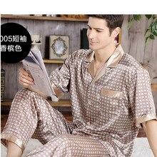 Лето принт мужские пятна шелк пижама комплект пижамы мужские пижамы модерн стиль шелк ночная рубашка дом мужской атлас мягкий уютный для сна