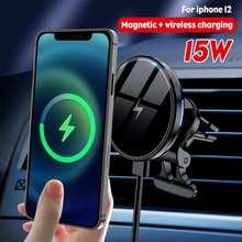 360 회전 15W 자기 무선 자동차 충전기 공기 콘센트 아이폰 12 프로 최대 12 미니 무선 충전을위한 휴대 전화 홀더
