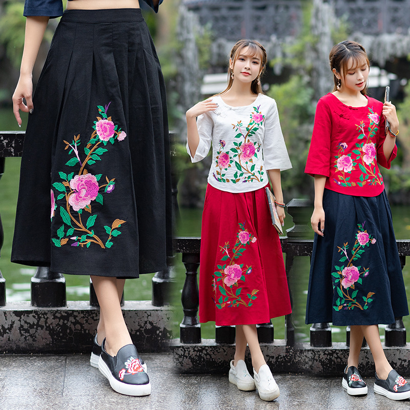 F06131 Ethnic Embroidery Skirt Women's 2019 Spring Loose Cotton Linen High-waisted Pleated Long Skirts